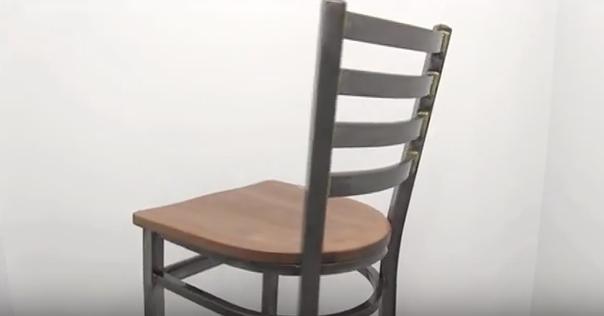 Metal Clear Coat Industrial Restaurant Side Chair