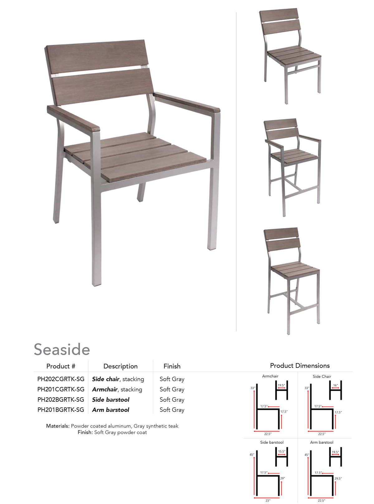 BFM Seating Seaside synthetic teak gray