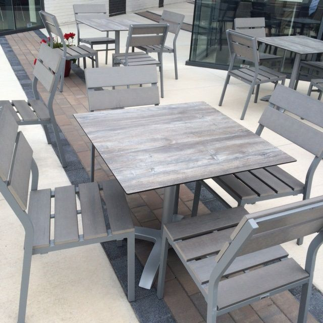 Seaside gray synthetic teak Tribeca table top - Tribeca Driftwood Laminate Outdoor Commercial Table Top 24 X 32