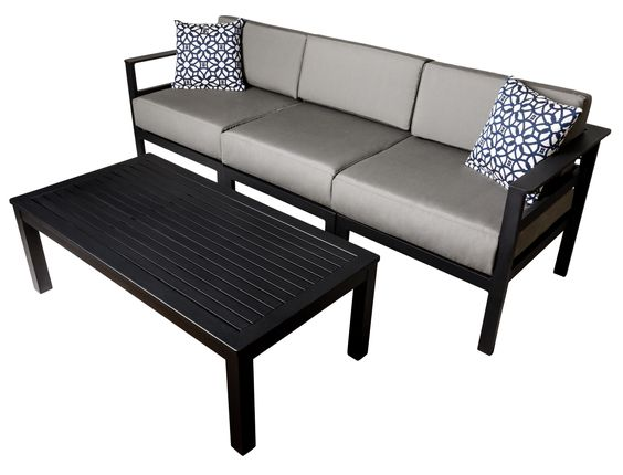 belmar outdoor commercial coffee table aluminum gray sofa