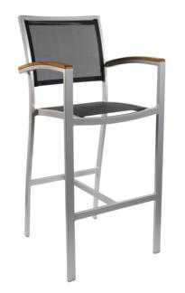 Aluminum Mesh Teak barstool and side chair