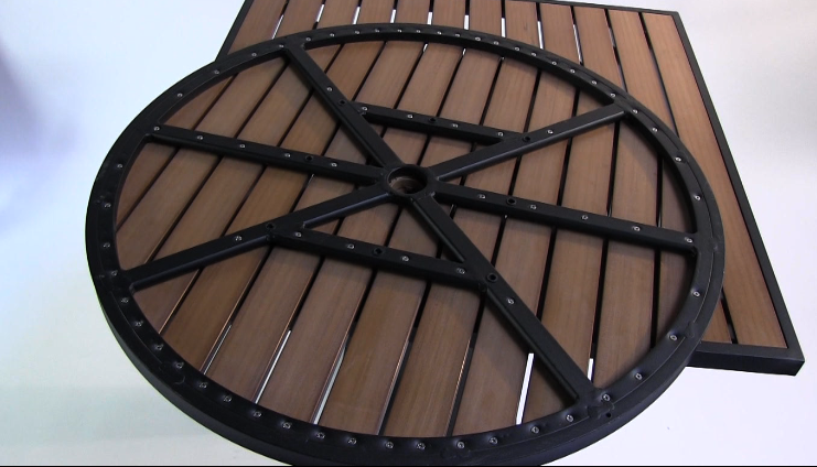... Round Synthetic Teak Table Top). Synthetic_teak_table_top_umbrella_hole