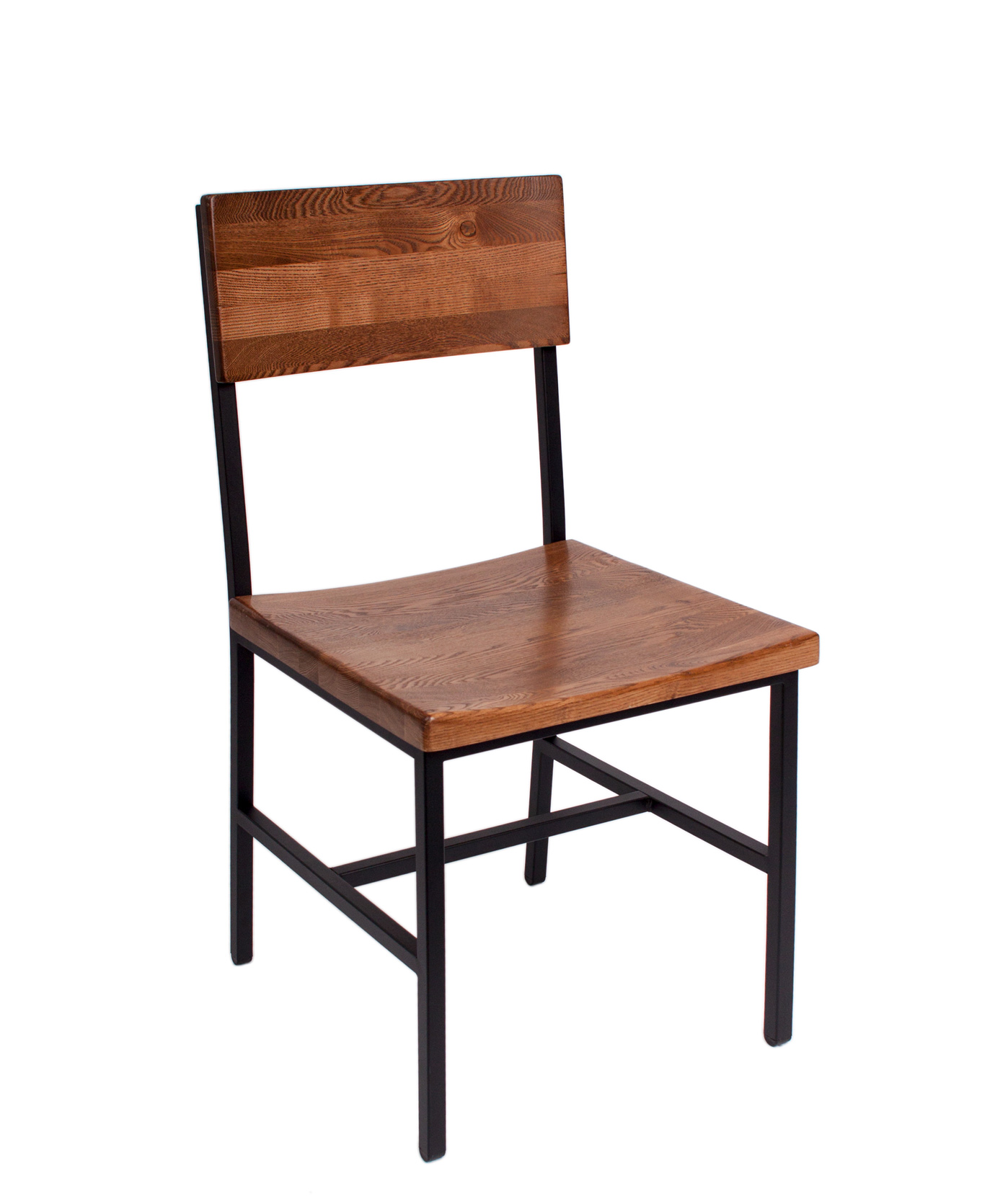 Memphis Sand Black Steel Side Chair with Autumn Ash Wooden Back and Seat