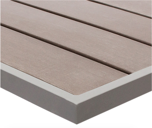 Seaside Synthetic Teak Table Top Gray Outdoor Commercial