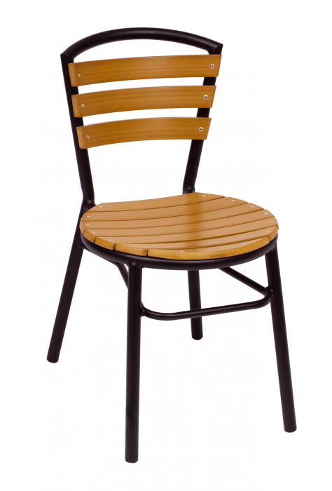 Florida Seating Black/Synthetic Teak Restaurant Side Chair
