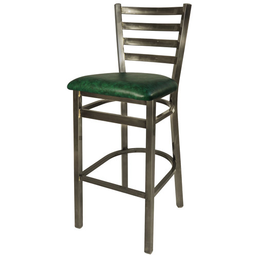 BFM Lima Ladder Back Vinyl Barstool, Steel Clear Coat Frame