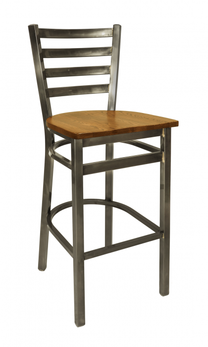 BFM Lima Ladder Back Wood Barstool, Steel Clear Coat Frame