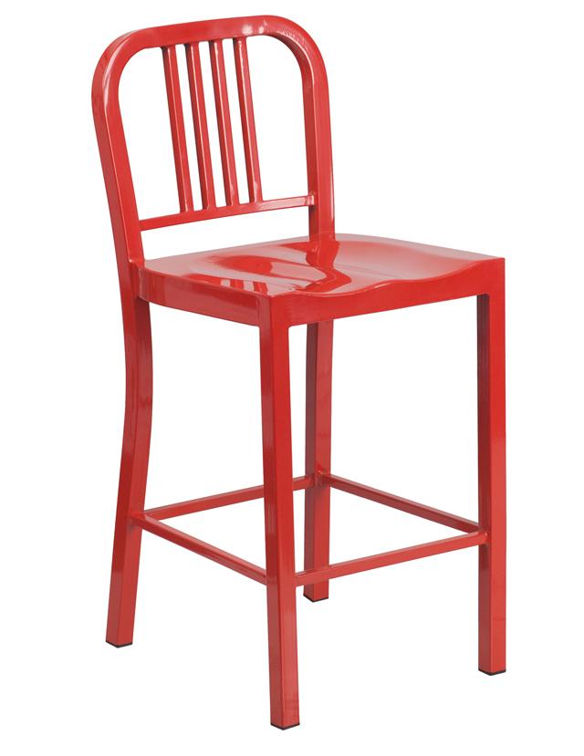 "Outdoor Metal Chairs FF 24"" Red Metal Indoor Outdoor Counter Height Stool"