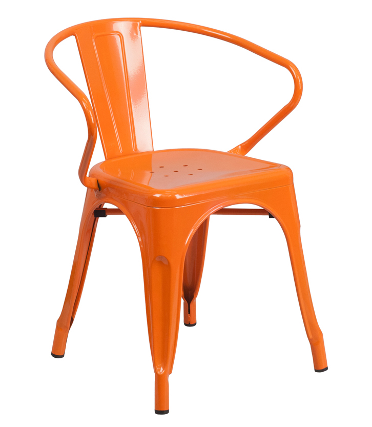 FF-Orange Metal Indoor-Outdoor Restaurant Armchair