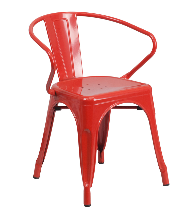 FF-Red Metal Indoor-Outdoor Restaurant Armchair