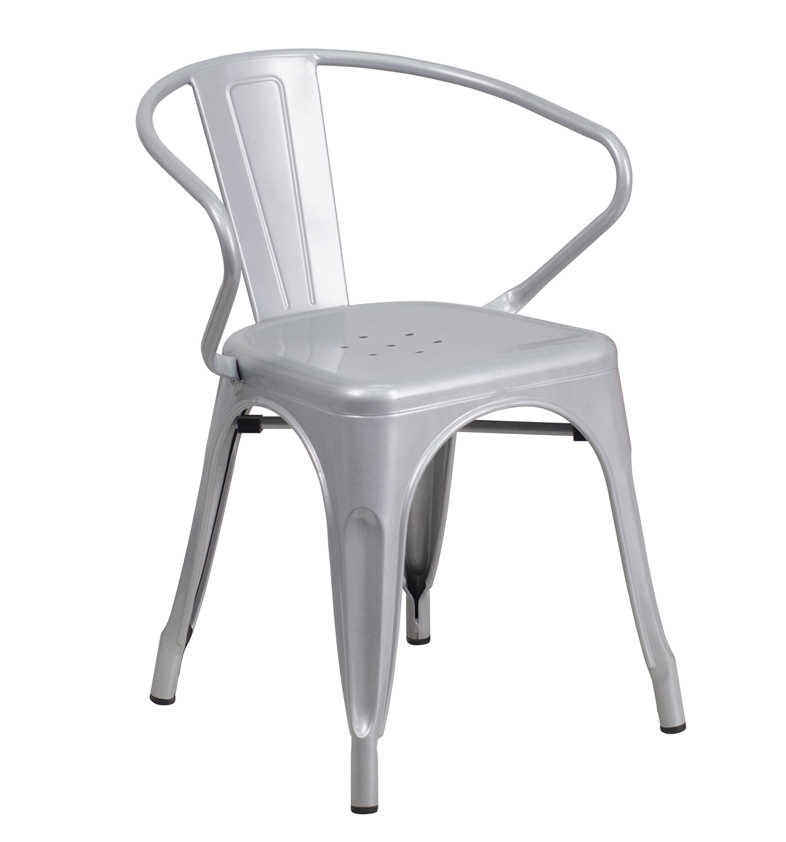 FF-Silver Metal Indoor-Outdoor Restaurant Armchair