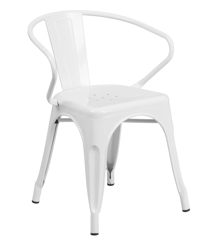 FF-White Metal Indoor-Outdoor Chair with Arms