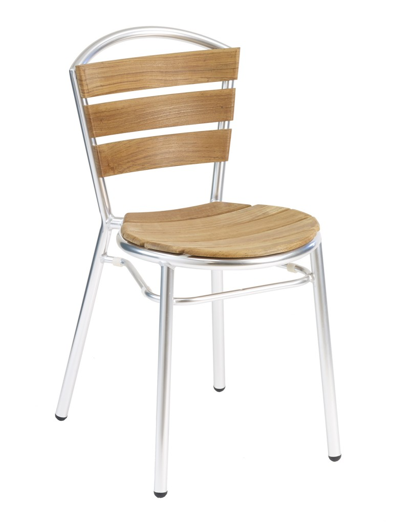Florida Seating Silver/Synthetic Teak Restaurant Side Chair