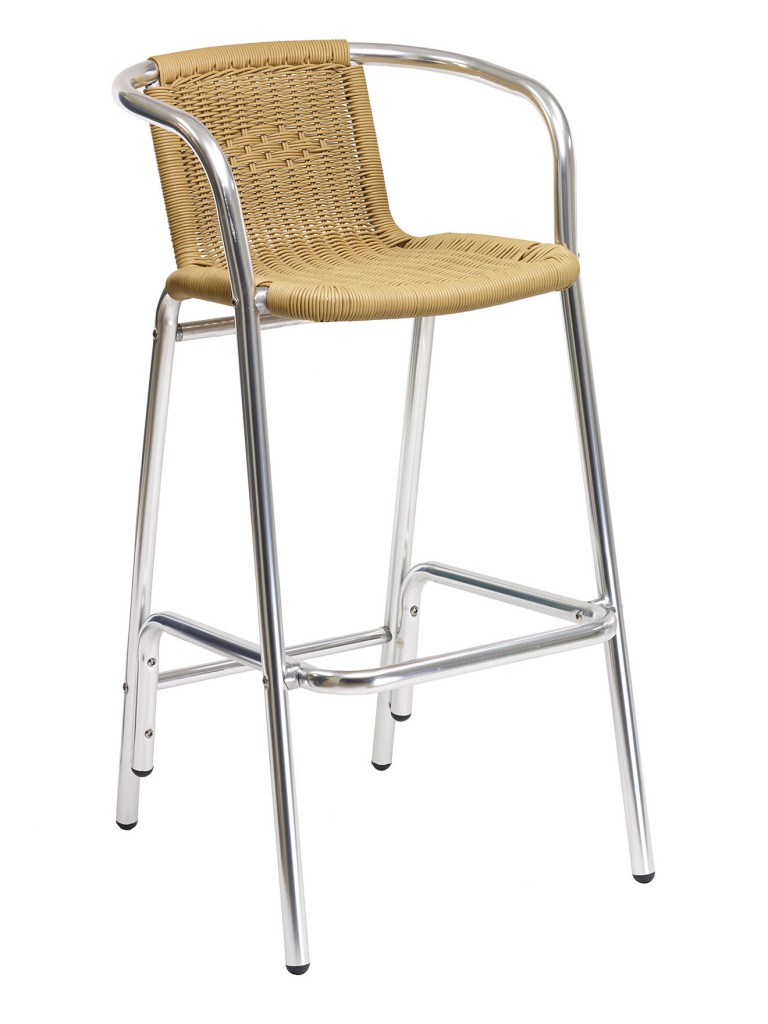 Florida Seating BW-51 Restaurant Arm Barstool Silver / Tan
