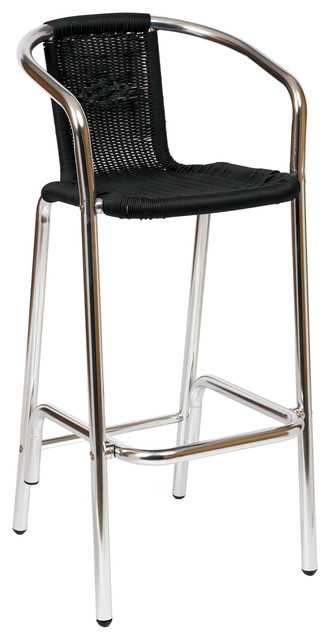 Florida Seating BW-51 Restaurant Arm Barstool Silver / Black