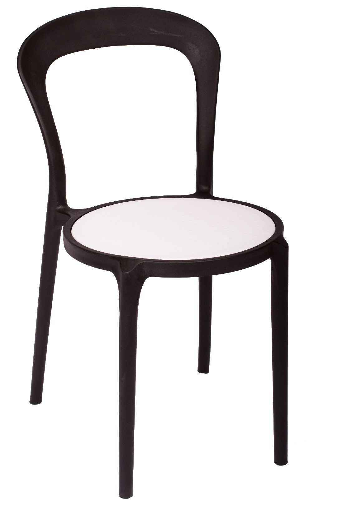 BFM Malibu Outdoor Restaurant Chair- Blackw/ Textilene White Sea