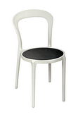 BFM Malibu Outdoor Restaurant Chair Grey Textilene White Frame