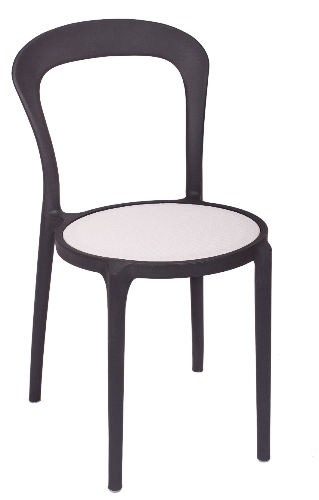 BFM Malibu Outdoor Restaurant Chair- Charcoal w/ Textilene White