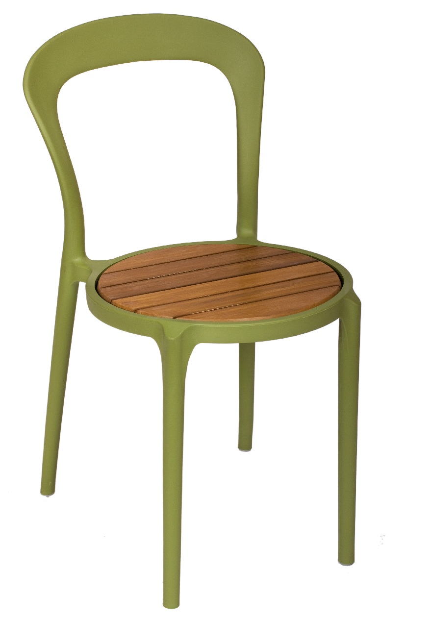 BFM Malibu Resin/Synthetic Teak Chair- Olive Green