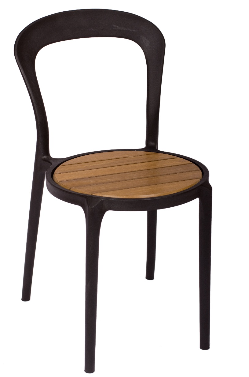 BFM Malibu Outdoor Restaurant Synthetic Teak Seat- Black