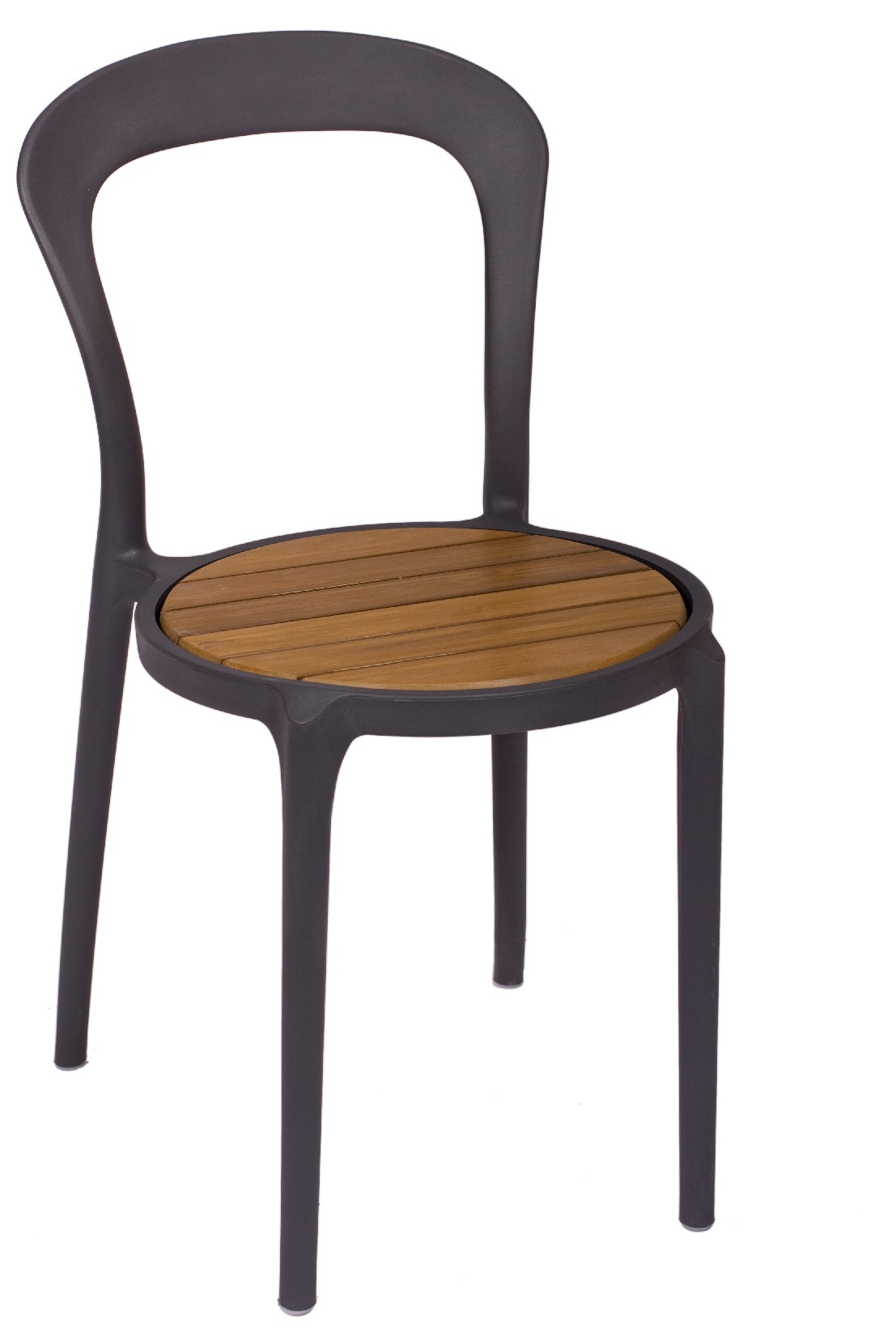 BFM Malibu Outdoor Restaurant Synthetic Teak Chair- Charcoal