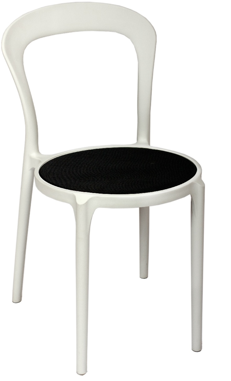 BFM Malibu Outdoor Restaurant Chair- White w/ Textilene Black Se