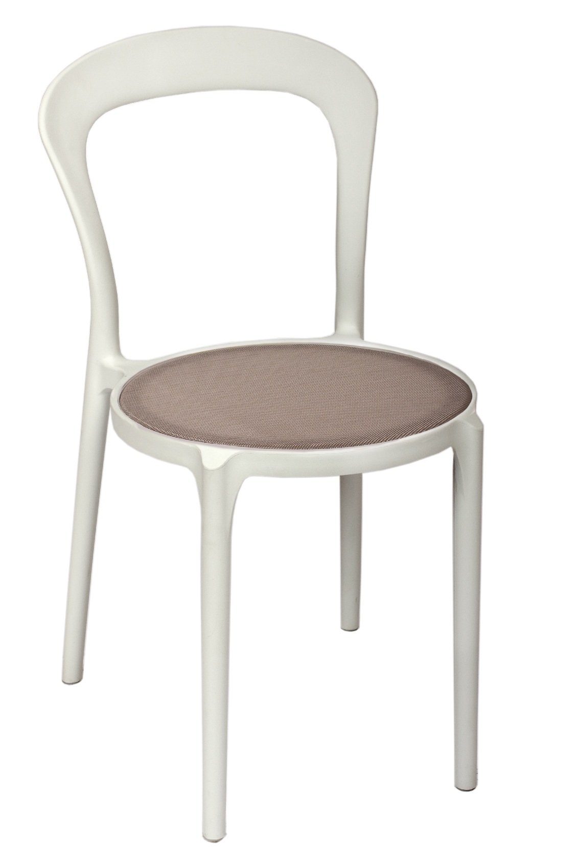 BFM Malibu Outdoor Restaurant Chair- White w/ Textilene Silver S