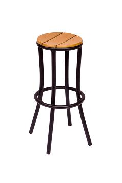 BFM Norden Backless Barstool Black Frame & Synthetic Teak