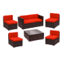 BFM Aruba 7-Piece Synthetic Wicker Sofa Set with Cushions