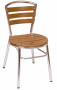 Norden teak side chair silver frame