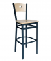 BFM Darby Circle Wood Back Indoor Restaurant Barstool