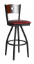 BFM Darby Circle Wood Back Indoor Swivel Barstool