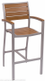 BFM Largo arm barstool synthetic teak silver frame