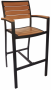 BFM Largo Aluminum & Synthetic Teak Arm Barstool