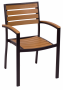 BFM Largo Armchair Black Aluminum Frame & Synthetic teak