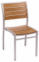 BFM Largo Side Chair Silver Aluminum frame & Synthetic Teak