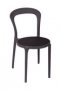 BFM Malibu Outdoor Restaurant Chair Black Textilene Charcoal Fra
