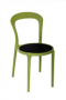BFM Malibu Outdoor Restaurant Chair Black Textilene Olive Frame