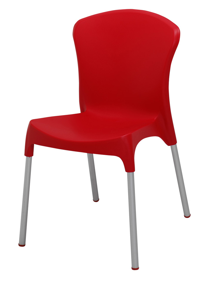 BFM Lola Side Chair- Aluminum legs & Resin Red