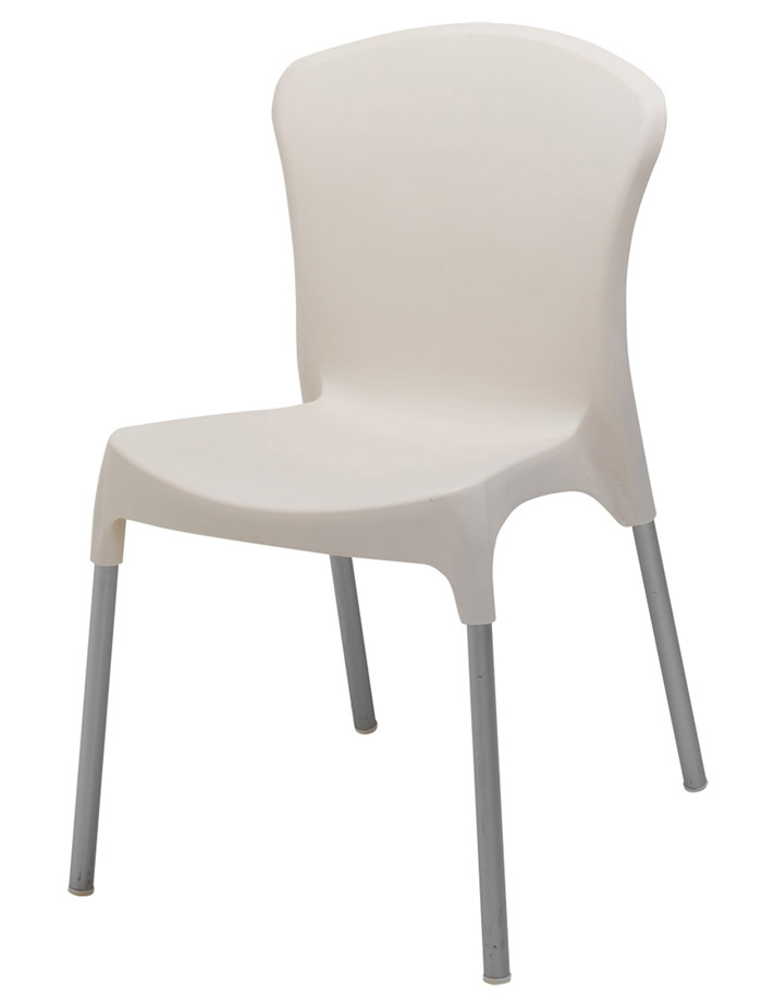 BFM Lola Side Chair- Aluminum legs & Resin Cream